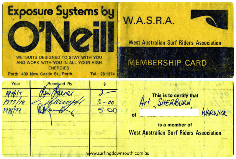 1970s WASRA membership card Arty Sherburn collage_photocat