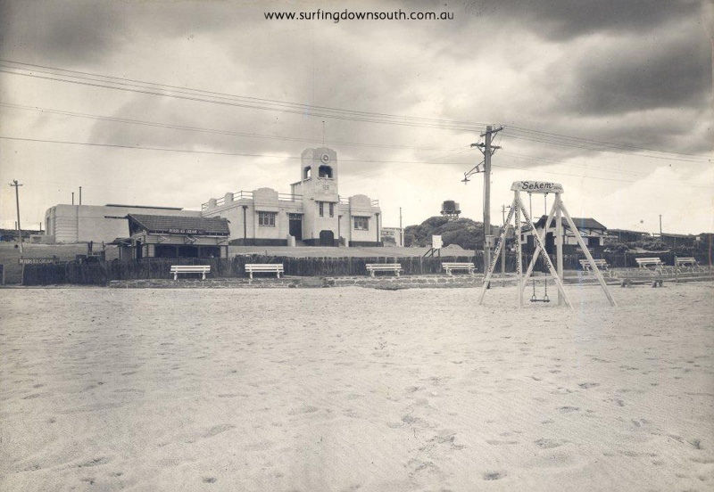 1939 Old Surf Club with Johnson's Shop to the left - Cambridge Library pic