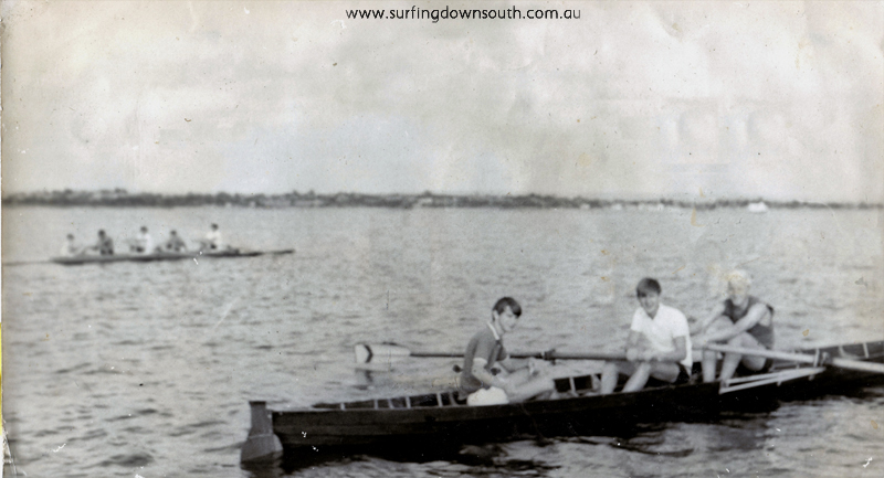 1960s Hale Rowing Team with fish line at back Neil Davis, Peter Dyson & Ray Tarik - PD pic IMG_0018