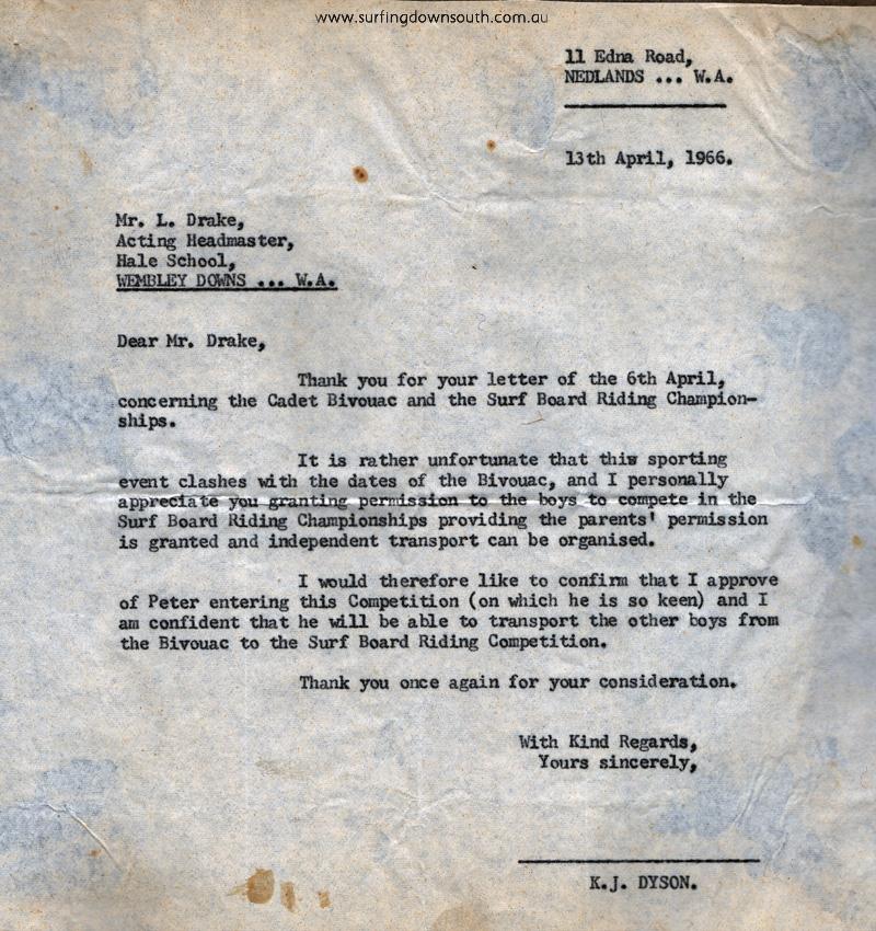 1966 Ken Dyson letter to Hale School - PD image IMG_20160509_0007