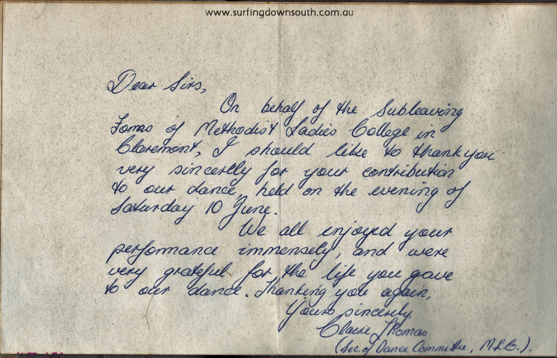 1966 The Banned thank you note from Methodist Ladies College - PD pic IMG_20160509_0003