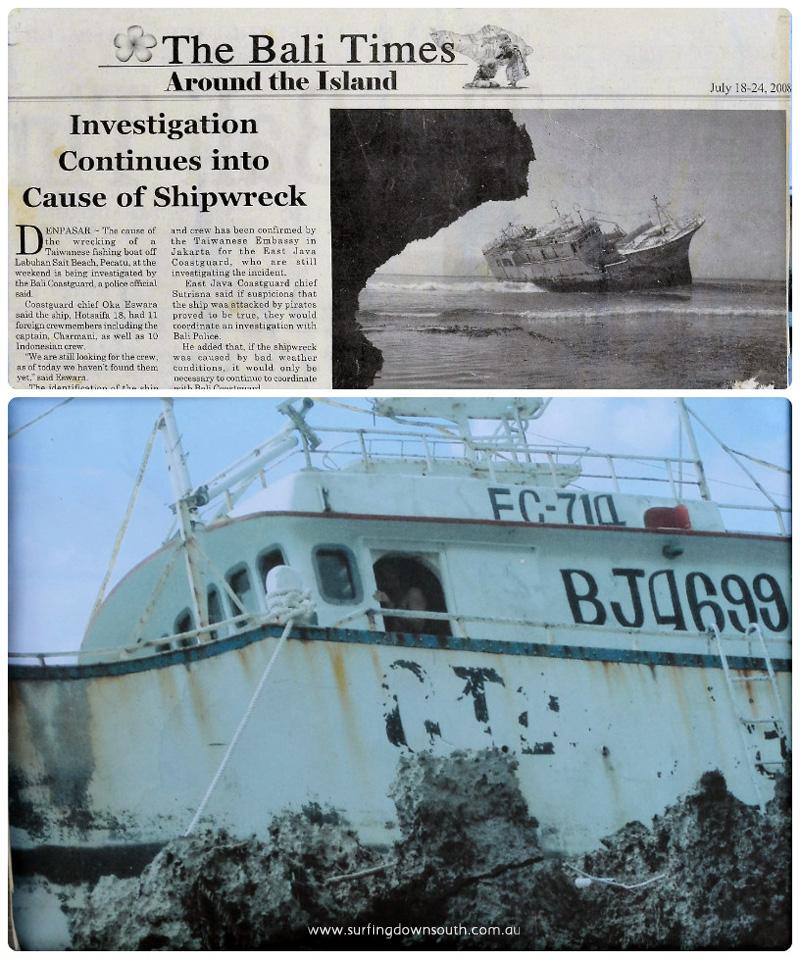 2008 Bali Padang Padang shipwreck Rich Myers collage_photocat