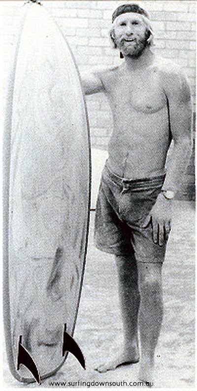1970 Tom Hoye and Twin Fin with Bennett Surfboards. Bennett family