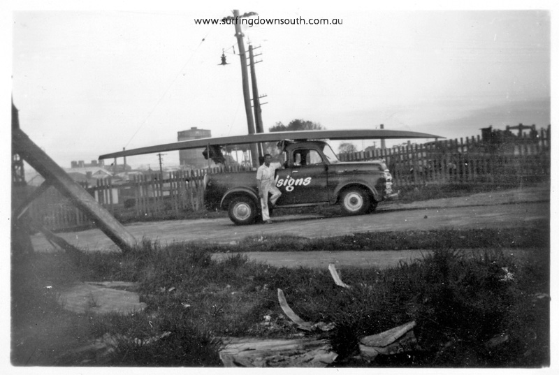 1956 R Geary work ute picking up 4 man ski - Ray Geary1