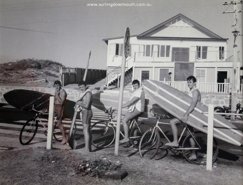 1960 North Cott Beach Glen Smith, Cliff Hills, Rob Birch & Graham Booth in front of Nth Cottesloe surf club - C Hills.002