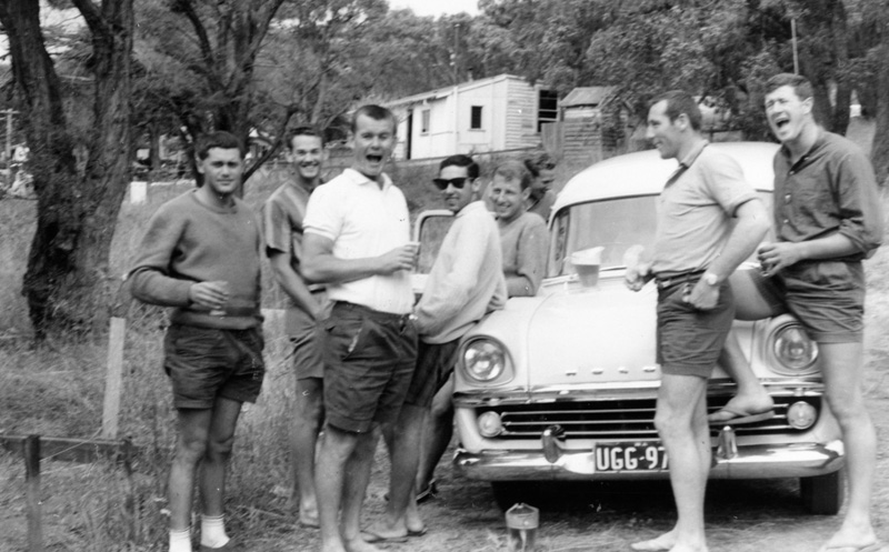 1962 Yalls Caves House Des Gaines, Alan Hamer, Dave Williams, Bob Keenan, Ray Evans, Kevin Merifield & Terry Williams - BC pic img271 cropped