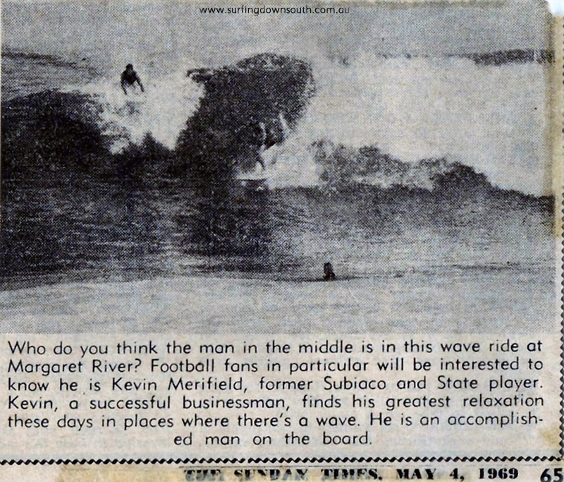 1969 Kevin Merifield surfing Marg River Sunday Times1